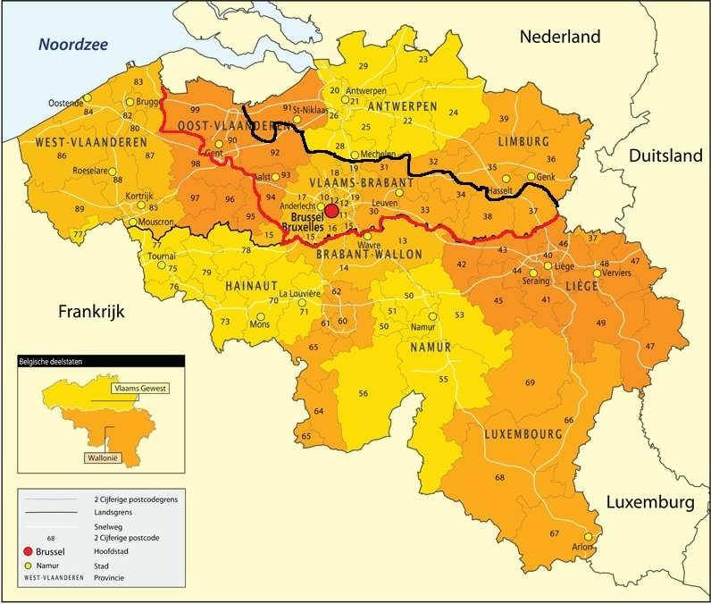 nieuwe postcode kaart belgie per 7-3 - noord - midden - zuid