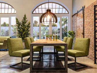 groen leren eetkamerstoelen