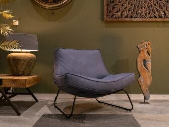 industriële blauwe fauteuil