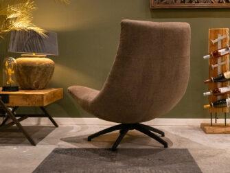 Stoere fauteuil in sterke stof