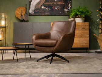 stoere bruine fauteuil