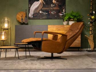 cognac verstelbare fauteuils