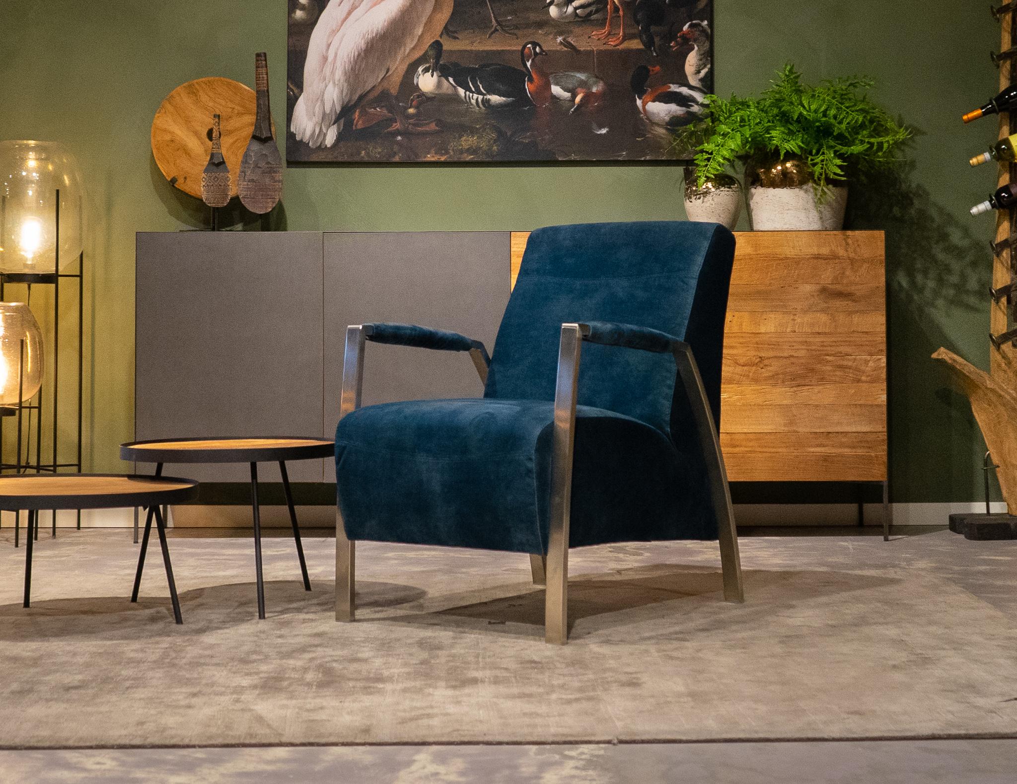 stoffen blauwe zetel