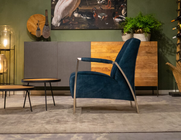 blauwe stoere fauteuil