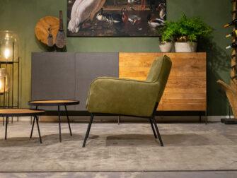 groene leren stoelen