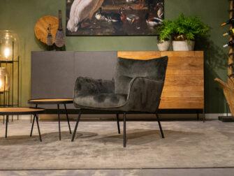 groene fauteuil stof