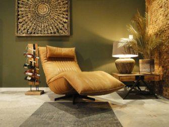 cognac fauteuil in leer
