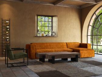 cognac bank met chaise longue