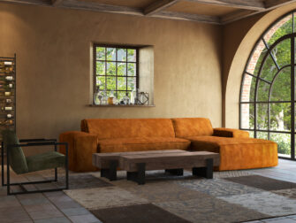 grote loungebank cognac