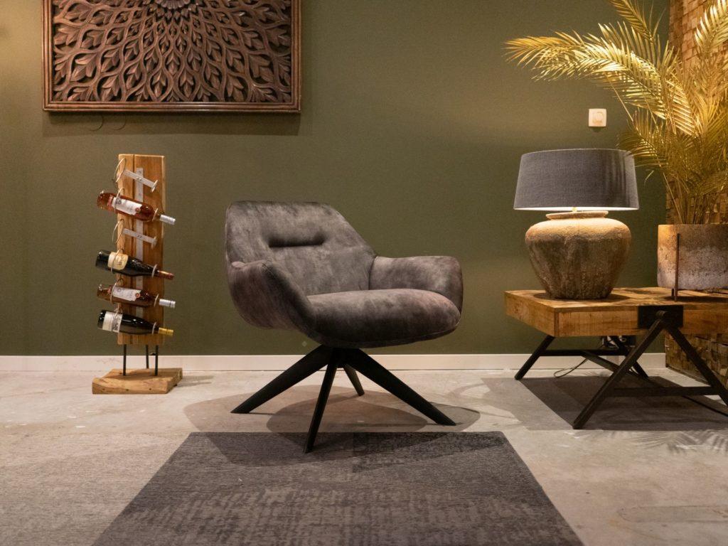 groene fauteuil in velvet