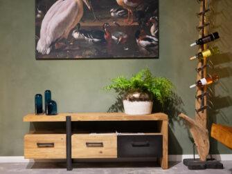 tv-meubel zwarte stalen lade