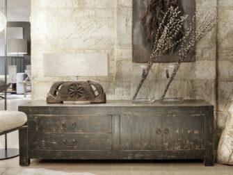 oud tv meubel zwart