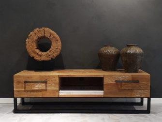 tv meubel hout en staal