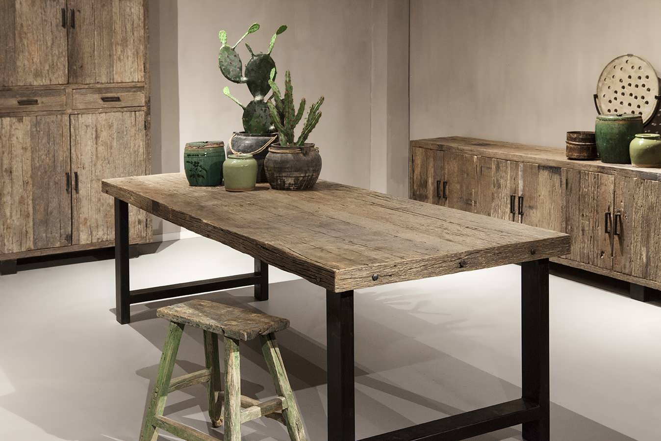 industriele tafel oud hout