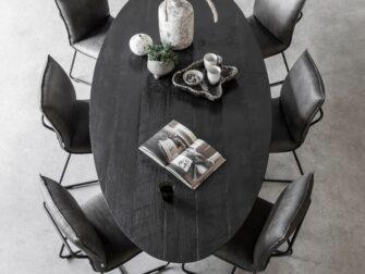 ovalen teak tafel
