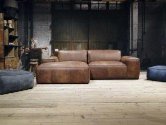 bruine chaise longue hoekbank